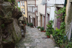 Houses Along Alley In The Old Town Of Porto Royalty Free Stock Photo