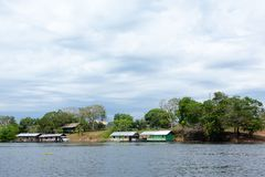 Houses along Amazonas river. Brazilian panorama. Houses along the Amazonas river. Brazilian wetland region. Navigable lagoon. South America landmark, amazonia stock image