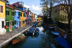 Houses along a canal Royalty Free Stock Photo