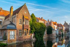 Houses along canal Stock Photo