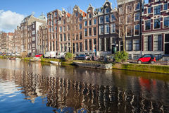 Houses along canal in old Amsterdam Stock Photos
