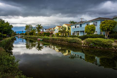 Houses along a canal in Venice Beach  Royalty Free Stock Images