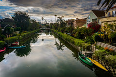 Houses along a canal in Venice Beach  Stock Photo