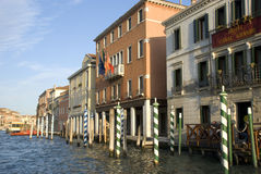 Houses along canale grande at sunset Stock Photos
