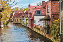 Houses along canals in Bruges Royalty Free Stock Image