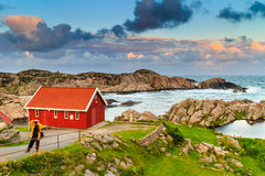 Houses along coastline near Lindesnes lighthouse Royalty Free Stock Images