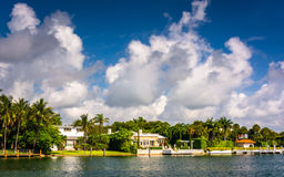 Houses along Collins Canal, in Miami Beach, Florida. Stock Photo