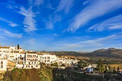 Houses along the El Tajo gorge over south side of Ronda royalty free stock images