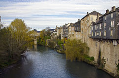 Houses along the Gave d'Aspe, before its junction with the Gave Royalty Free Stock Images