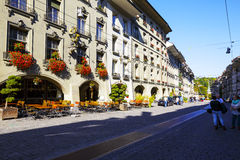 Houses along the most visited street. BERN, SWITZERLAND - SEPTEMBER 13, 2015: Townhouses along the most visited street in the city with a population of approx Stock Image