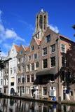 Houses along Oudegracht, Utrecht, Holland Stock Photography