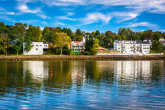 Houses along the Penobscot River in Bucksport, Maine. Royalty Free Stock Photo