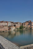 Houses along the river. In an old quarter of albi(french),the houses are built on the river stock photography