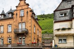 Houses along the river Moselle in Germany stock photography