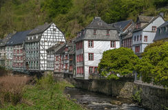 Houses along the Rur river, Monschau, Germany Royalty Free Stock Photography