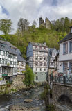 Houses along the Rur river, Monschau, Germany Stock Photography