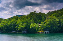 Houses along the shore of Lake Burton, in Georgia. Stock Images