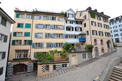 Houses along slope in old town of Zurich Stock Photography
