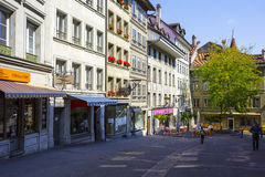 Houses along the street, Fribourg Stock Images