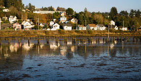 Houses Along Youngs Bay Newhalem HWY Astoria Oregon Stock Photos