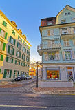 Houses and the Alps in the City of Bad Ragaz Stock Photos