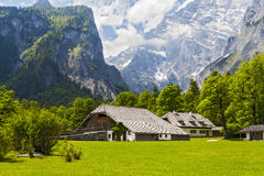 Houses in the Alps. Low building on the background of mountains Stock Image