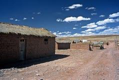 Houses on Altiplano in Bolivia,Bolivia. Houses and street  on Altiplano at Eduardo Avaroa National Reserve,Bolivia Stock Photo