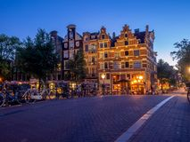 Dutch canal houses in Amsterdam Royalty Free Stock Photography