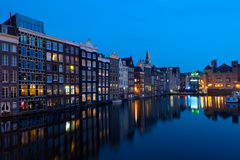 Houses of Amsterdam at night Stock Photos