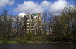 Houses and Apartments Pioneer Pond Royalty Free Stock Photography