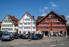 Houses in Appenzell, Switzerland. APPENZELL APR 16: lovely traditional Swiss houses in Appenzell, Switzerland on April 16, 2012. Appenzell became a full member royalty free stock image