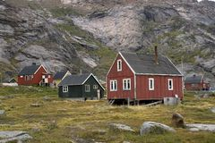 Houses in Appilatoq, Greenland Stock Image