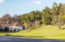 Houses of Aquitaine. Houses surrounded by trees in the forest of Aquitaine in France, on a sunny day royalty free stock photography