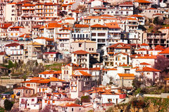 Houses of Arachova town. The view on houses of Arachova town near Delphi, Greece Royalty Free Stock Photos