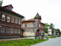 Houses in Arkhangelsk. Old Russian wooden houses in the north of the European part of Russia Stock Photo