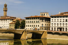 Houses, Arno River and Ponte Vecchio, Royalty Free Stock Photography