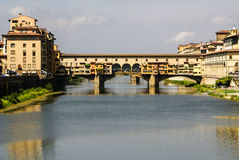 Houses, Arno River and Ponte Vecchio, Stock Photography