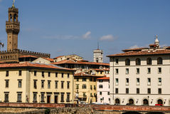 Houses, Arno River and Ponte Vecchio, Royalty Free Stock Image