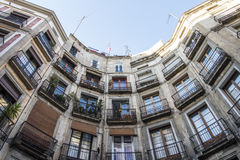 Houses around the Carrer de Milans street in Barcelona, Catalonia, Spain Royalty Free Stock Photos