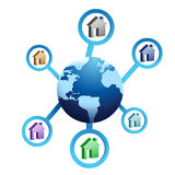 Houses around the globe Royalty Free Stock Images