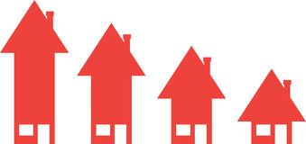 Houses with arrow moving down. 4 vector red arrow house icons moving down Stock Photos
