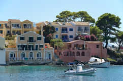 Houses in Assos marina Stock Image