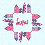 Houses background. Home lettering. Winter street Stock Photography