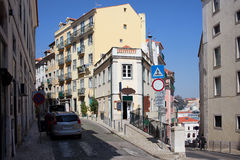 Houses in the Bairro Alto District of Lisbon Royalty Free Stock Photo