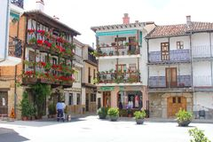 Characteristic Spanish architecture and blooming flowers, Candeleda, Spain Royalty Free Stock Photo