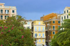 Houses and balconies in Corfu town, Greece Stock Images