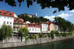 Ljubljana houses castle royalty free stock photos