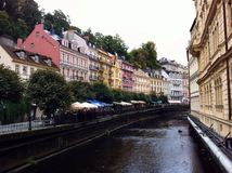 Houses on the bank of the River Tepla. Palaces in Karlovy Vary Stock Image