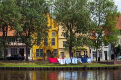 Lubeck. Houses on the bank of the river Trave, Lubeck Stock Photo