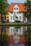 Lubeck. Houses on the bank of the river Trave, Lubeck Stock Images